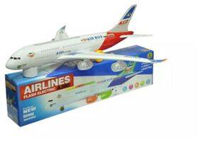 Zaprap White Plastic Musical kids Aeroplane toy