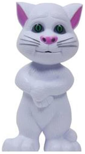 Zaprap White Plastic Musical Talking Tom Cat Toy(With Recording)