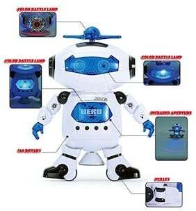 Zest 4 Toyz Electric Smart Space Walking Dancing Robot With Music & 3d Lights & 360 Rotation