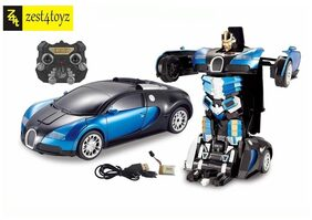 Zest 4 Toyz 1:14 Scale Remote Controlled one Button Car To Transformer to Car Converting Bugatti Style Transformer