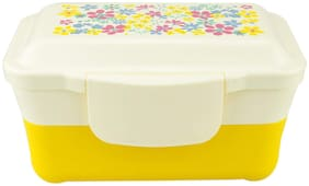 ZEVORA Kids Double Layer White & Yellow School Lunch Box with Spoon & Lid (20x14 cm)