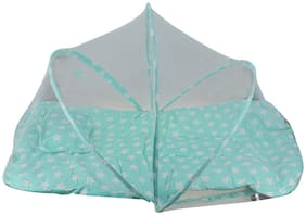 ZEVORA Sky Blue Star Soft & Comfortable Portable Baby Mosquito Net with Foldable Mattress (48x92 cm)