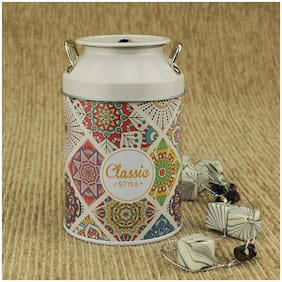 ZEVORA White Floral Design Coin & Cash Piggy Bank Toy Gift for Kids with Unbreakable Metal Body (13 cm)