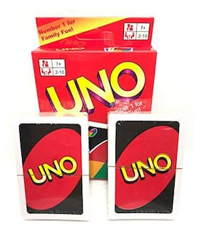 ZINOM Uno Red Playing Cards for Family Children Friends Fun - Pack of 1