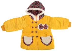 Zonko Style Girl Polyester Solid Winter jacket - Orange