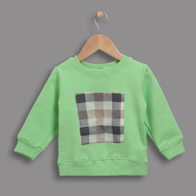 Zonko Style Girl Cotton Checked Sweatshirt - Green