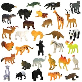 Zoo Non Toxic Wild Animals Figures Set for Kids with Jungle Wallpaper- Pack of 20