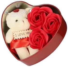 Cream & Red Teddy Bear - 12 cm