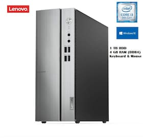 Lenovo Ideacentre 510S Desktop Pc (Intel Core i3-9th Gen 9100/4 GB RAM/1 TB HDD/Windows 10/Integrated Graphics/Keyboard & Mouse) 90LX0089IN (Silver)