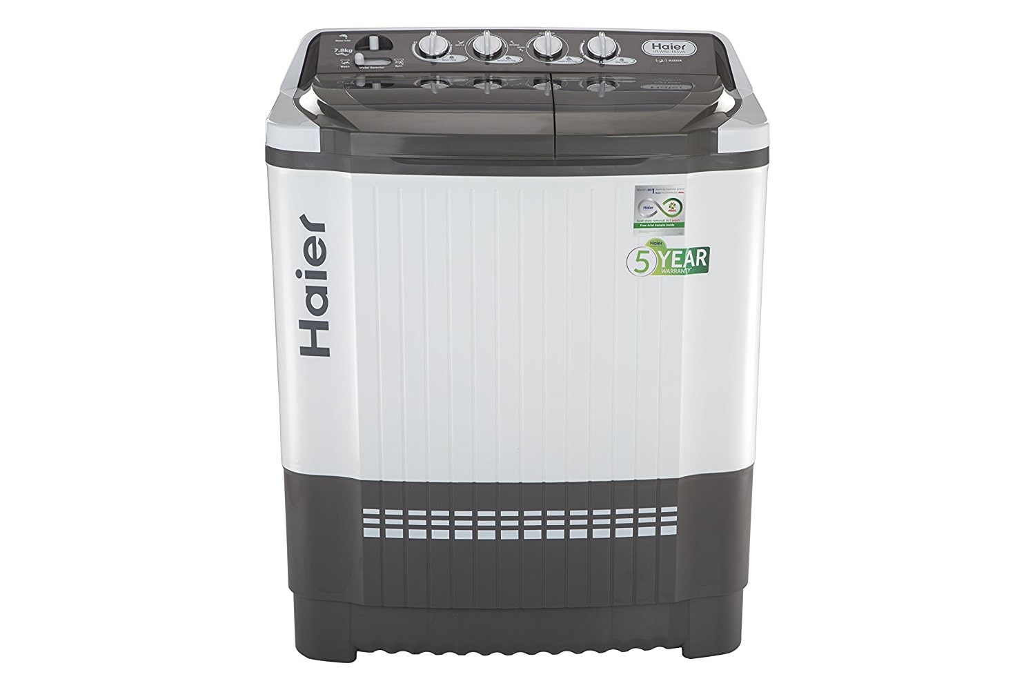Haier 7.8 kg Semi Automatic Top Load Washing Machine (HTW80-185VA, Grey & White)