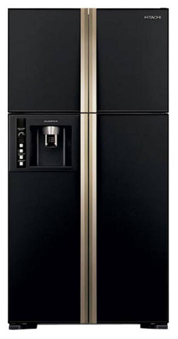 Hitachi 638 L Frost Free Side by Side 5 Star Refrigerator (RW720FPND1X, Glass Black)