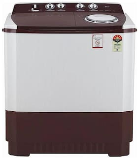 LG 10 kg Semi automatic top load Washer with dryer - P1040SRAZ , White & Maroon