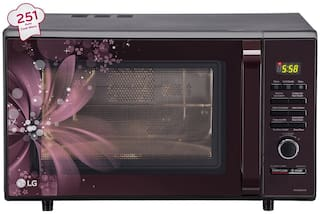 LG 28 L Convection Microwave Oven - MC2886BRUM , Black and maroon