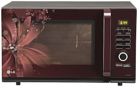 LG 32 L Convection Microwave Oven - MC3286BRUM , Black and maroon