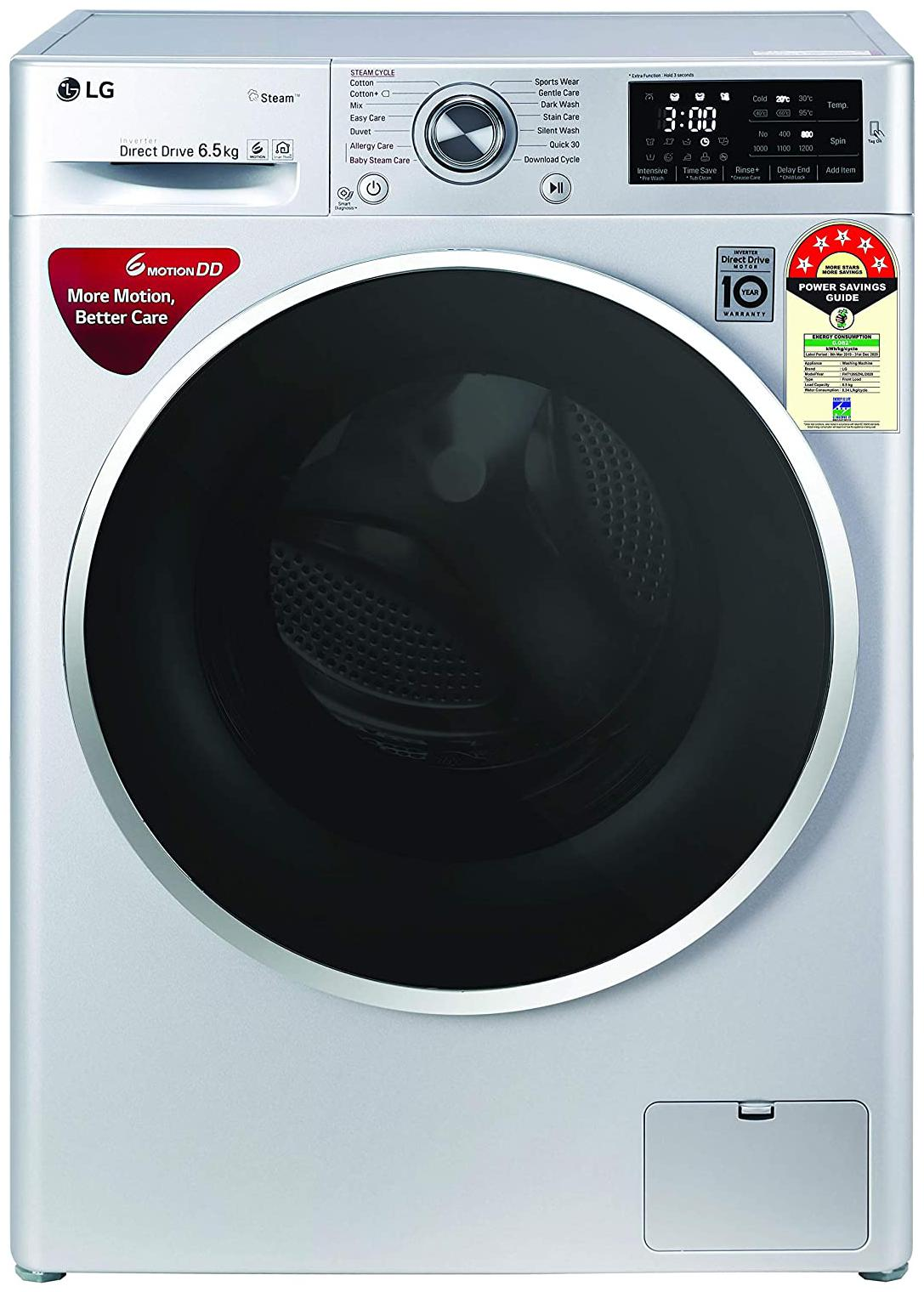 LG 6.5 kg Fully automatic front load Washing machine   FHT1265ZNL , Luxury silver