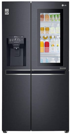 LG 668 L Frost Free Side by Side (2020) Refrigerator (Matt Black, GC-X247CQAV)