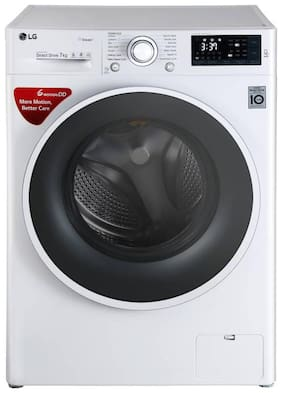 LG 7 Kg Fully automatic front load Washing machine - FHT1207SWW,7.0 KG WASHING MACHINE WITH STEAM & TURBOWASH  , Blue white