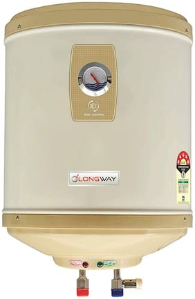 LONGWAY Abs Body Stainless Steel 5 Star Water Geyser with Temperature Meter (25 L, Ivory)