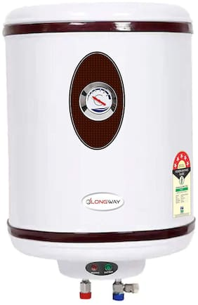 LONGWAY HOT Plus 50 ltr 5 Star Storage Water Geyser WT AVS Technology, Temperature Meter, Stainless Steel Body, HD ISI Element & Capsule Type SS Tank (Ivory)