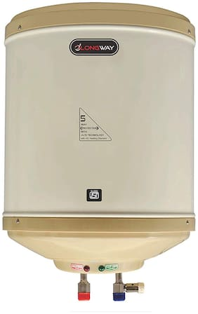LONGWAY Superb 10 ltr Instant Water Heater Geyser Capsule Type SS Tank, HD Copper Element (Ivory)