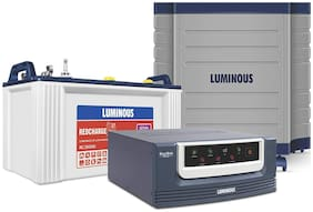 Luminous RC15000 120 Ah Tubular Battery + Eco Volt 850 UPS + Luminous Trolley