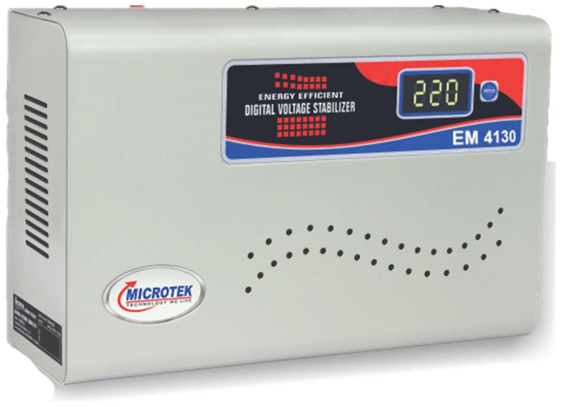 Microtek EM4130+ Voltage Stabilizers For AC upto 1.5 Ton (130V-300V)(White)