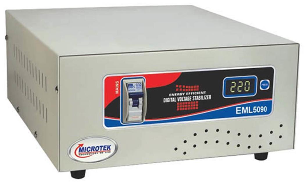 Microtek EML 5090 Voltage Stabilizer For Mainline (90V-300V) 15 Amps (White)