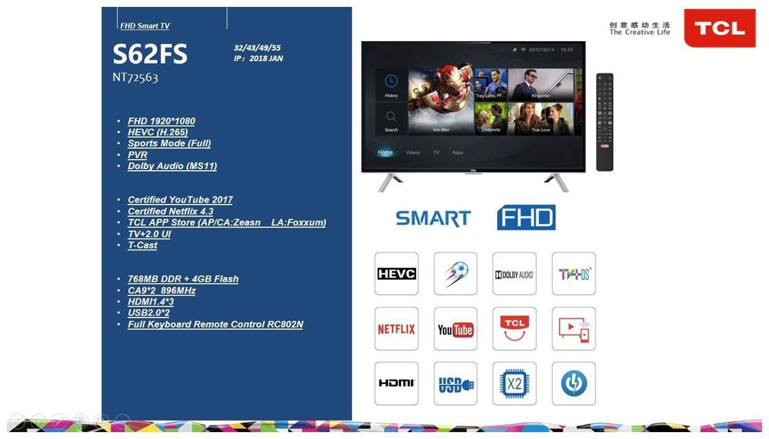 TCL 40 Inches Full HD LED Smart TV (40S62FS, Black)