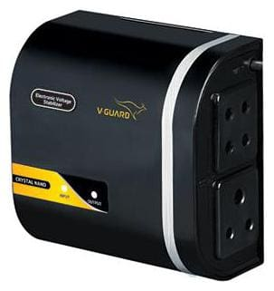 V-Guard Crystal Nano Voltage Stabilizer (Black)