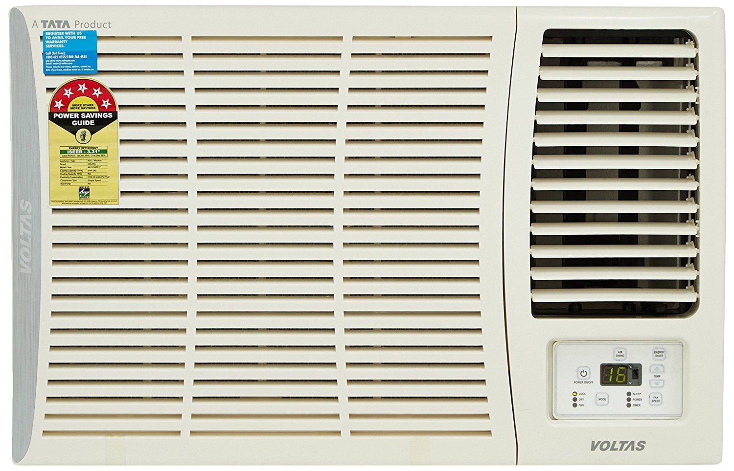 Voltas 1.5 Ton 5 Star Window AC (185 DZA, White)