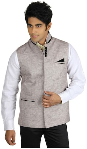 Platinum Studio Semi Linen Brown Waist Coat (Size-36)