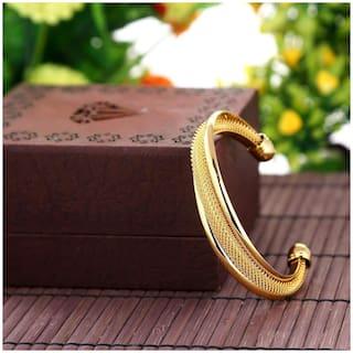 ZIVOM Mens Gold Mesh Cuff Kada Bracelet Bangle