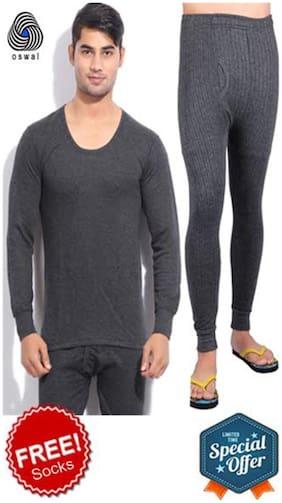 Oswal Men Cotton Thermal Set - Grey
