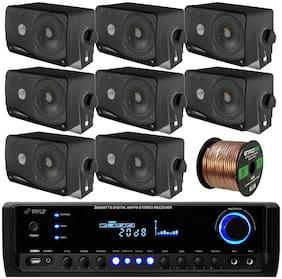 """8 Marine 3.5"""" Box Speakers, PT390BTU Bluetooth USB Radio, 100FT Speaker Wiring"""