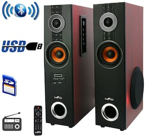Befree Sound 2.1Ch Dual Wood Bluetooth Wireless Powered Tower Speakers