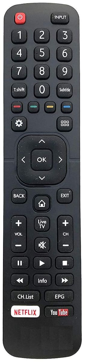 Darahs Remote Control with You Tube and NETFLIX Function Compatible with VU LCD, LED TV (Black)