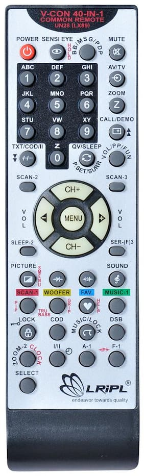 LRIPL Videocon Universal 40-IN-1 Remote Control Compatible for Videocon CRT TV