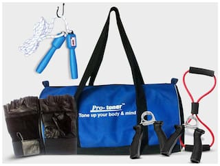 Protoner Gym Combo With Bag-Blue And Black