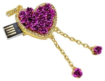 Microware Heart Shape Purple Metal 16  GB Pen Drive
