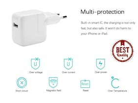 12W IPhone USB Power Adapter For iPhone 5 5s 5c 6 6s 6+ 6s+ 7 7+ (White)