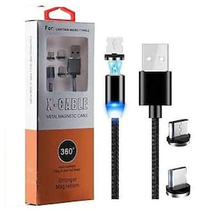 3 in 1 - Metal Magnetic Charger Data Cable Metal Adapter for Android , Iphone & Type-C