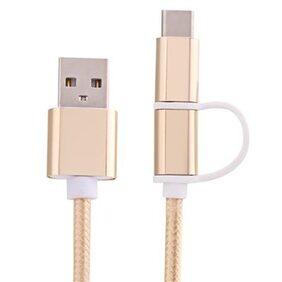 2 in 1 Micro USB Nylon Braided Charging Cord with Type-C Adapter 1m # International Bazaar