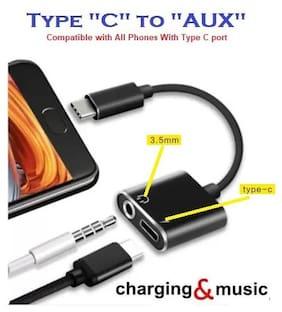 ISAAK Headphone Splitter 3.5 mm , Type-C Cable ( 0.1 m , Black )