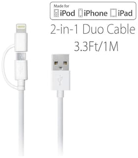 2 in 1 USB Charging Cable Compatible With Both APPLE and ANDROID MICRO USB( ASSORTED COLOUR)