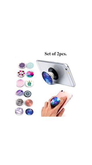 2pcs. Universal Mobile POP socket Expanding Grip Mount With Car mount (Assorted Colors and Design)