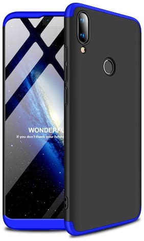 3 in 1 Double Dip Case [ Anti Slip ] Super Slim [Hard] Hybrid PC All Angle Protection Lightweight Matte Hard Back Case Cover for REDMI Note 7 / REDMI Note 7 PRO (Black with Blue)