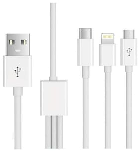 S4 Data & Charging Type-C & Micro USB Cable ( 1-1.5m , White )