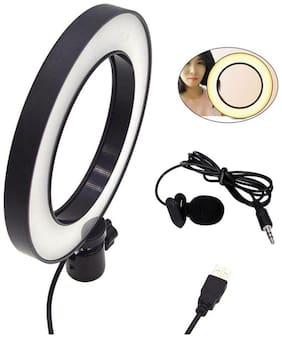 3 Lights Color Adjustable LED Selfie Ring Light with Collar Microphone With Clip for Video and Photography