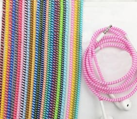 3 pcs pack -Spiral Cable Cord and Earphone Protectors (Minimum Length 1.5 m each)