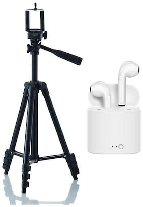 3120 Professional Universal Portable and Fordable Tripod With i7S Headphone Twins Earphone Bluetooth Headset By Crystal Digital